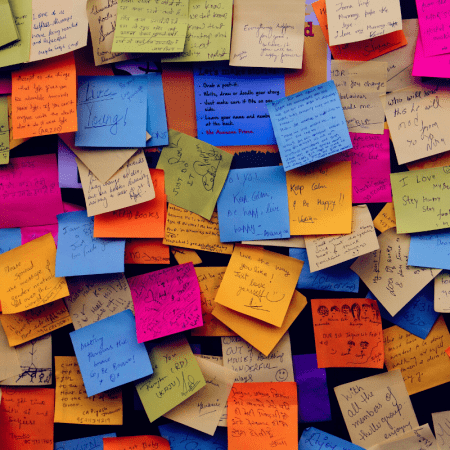 Collage of temporary sticky notes