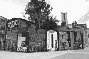 Mural with words Memorial and 415,000 victims