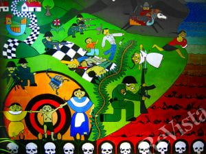 A brightly colored mural depicting the Sumpul River massacre, with a river of red and skulls lining the bottom of the mural.