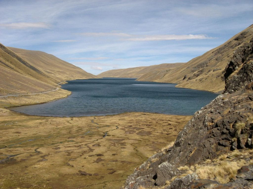 Picture of a a glacier-fed reservoir, hidden deep in the mountains, that El Alto residents envision may solve their water needs.