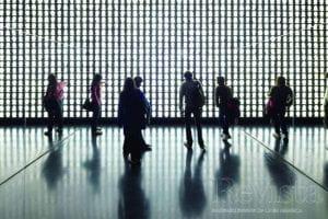 Photo of people walking in gallery of Museo De La Memoria Y Los Derechos Humanos, Chile