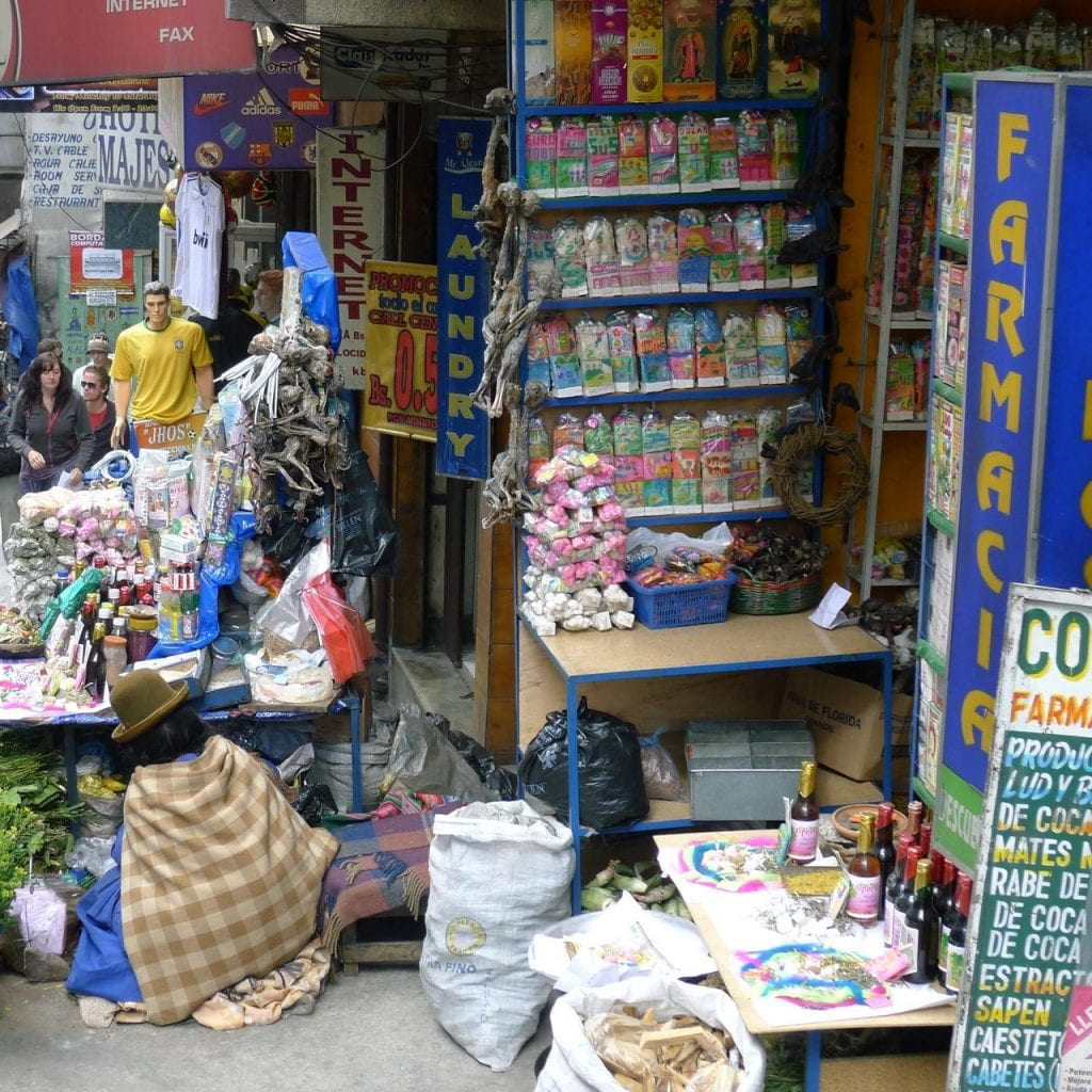 A street vendor store, selling natural remedies, including coca products.