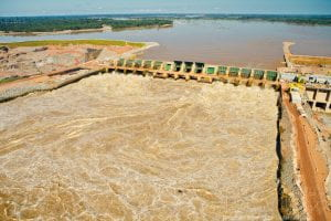 Photo of a dam on the Santo Antonio River, part of the Santo Antônio Hydroelectric Project.