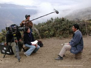 Pamela Yates and film crew filming in the Peruvian Andes with Ramiro Nino de Guzman for the State of Fear: The Truth About Terrorism.