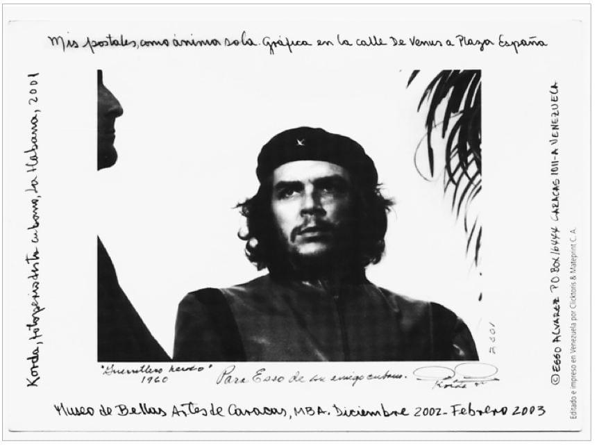 An art postcard displays photographer Alberto Korda's iconic image of Che.
