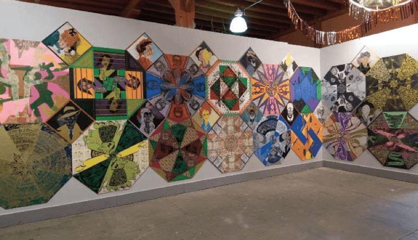 """Antonio Martorell's workshop in Ponce, Puerto Rico, exhibits his """"La plena inmortal"""" art project."""