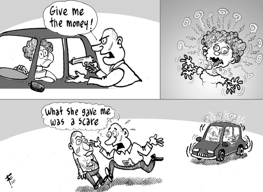 A cartoon: In the first frame, a man points a gun at a woman in a car and says,