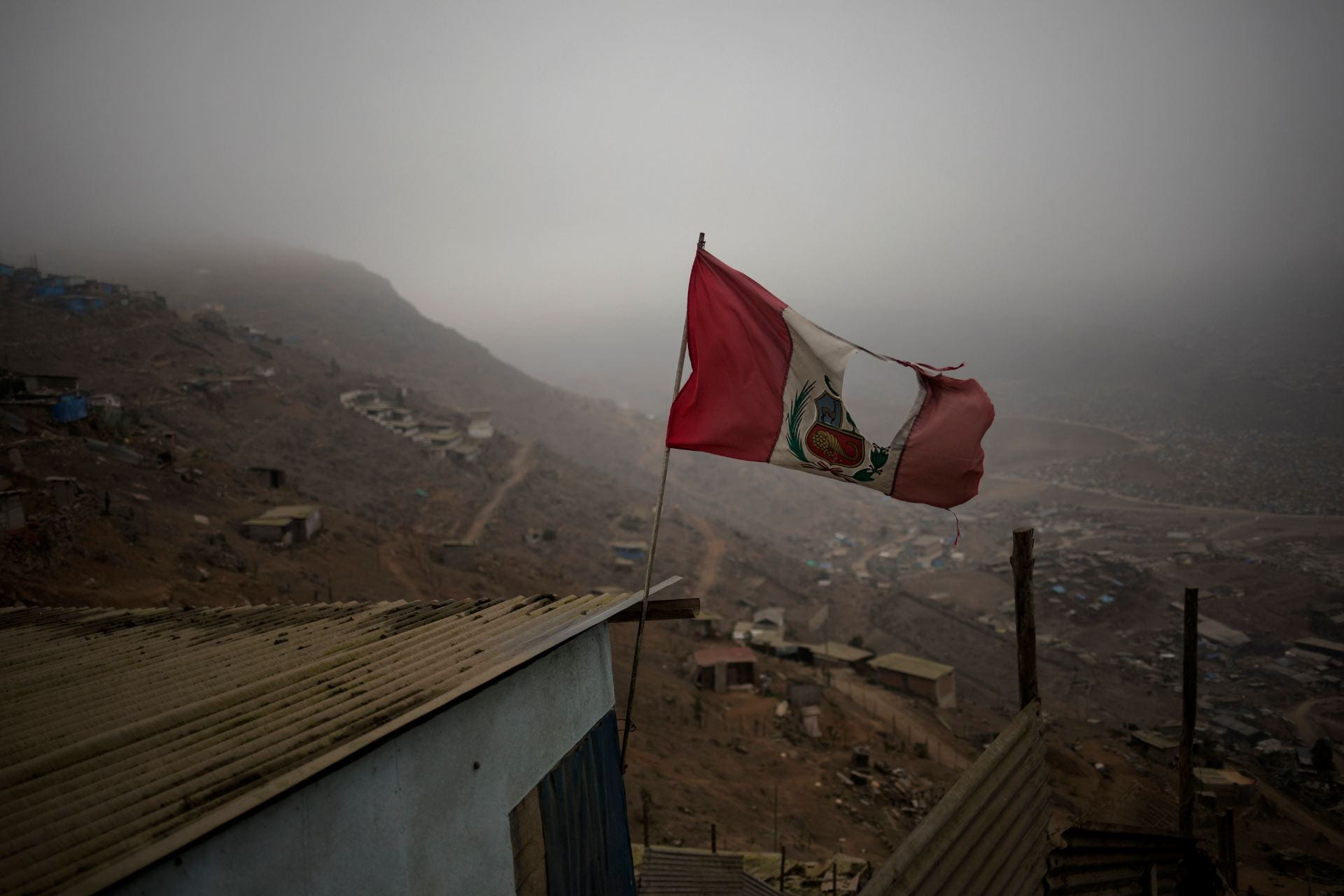 Peruvian flag torn