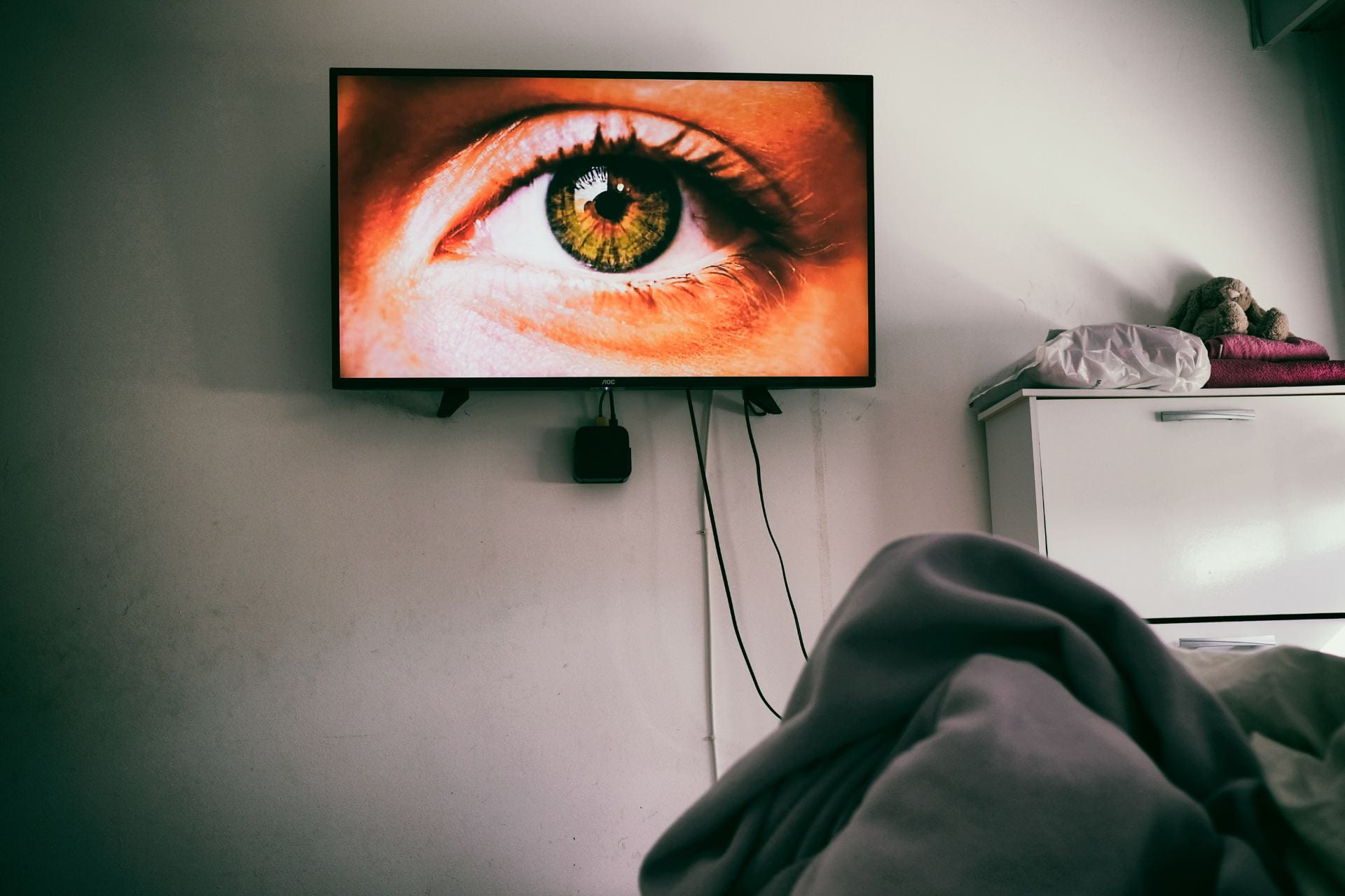 portrait of an eye on a TV screen