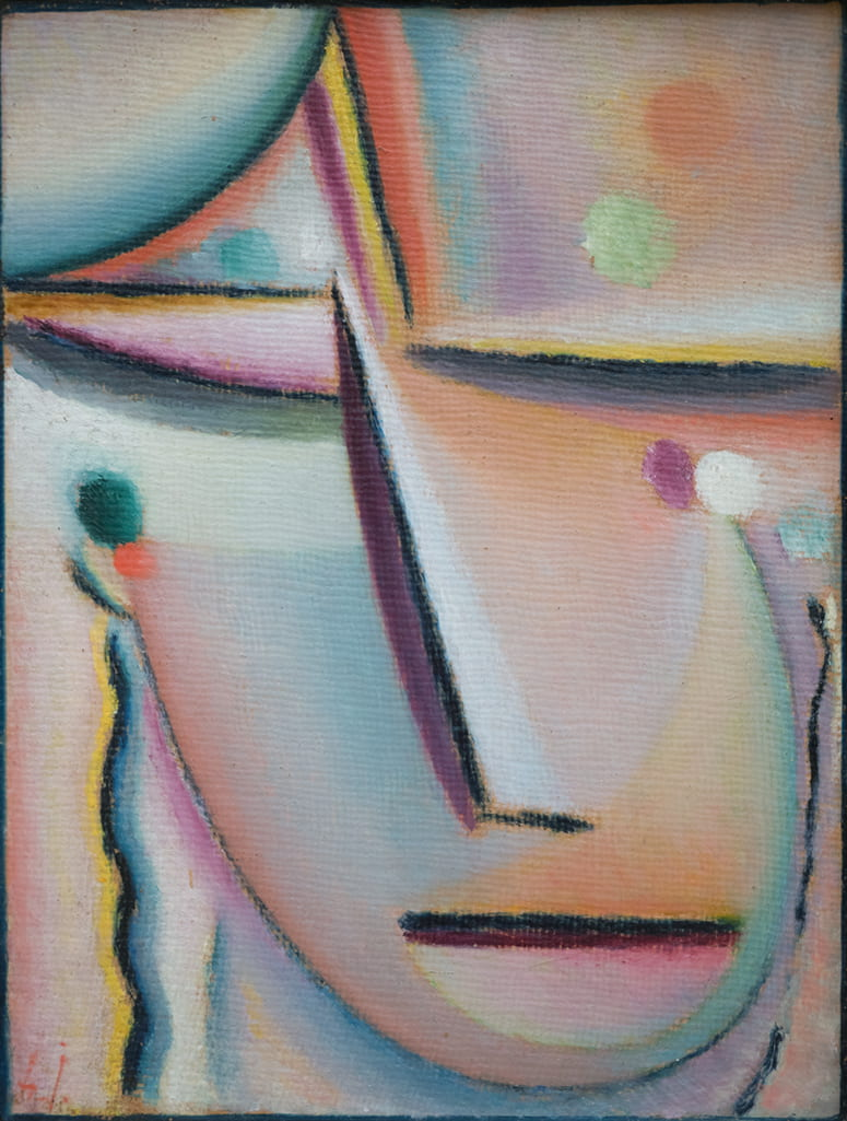 Abstract painting of a face with its lines resembling a cross