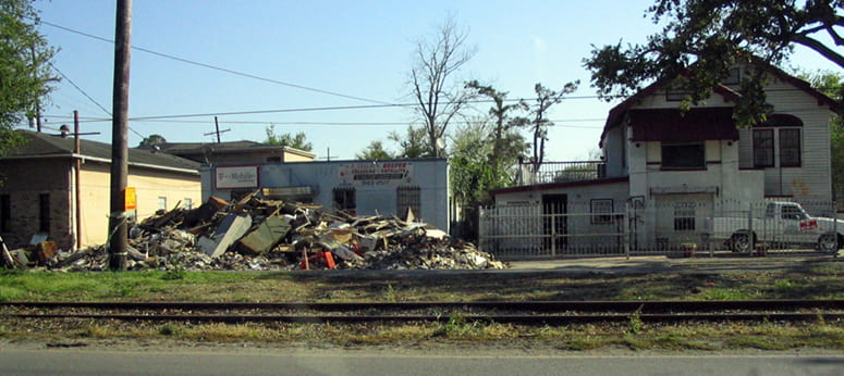 Rubble and damaged buildings