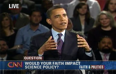 Barack Obama answering a question