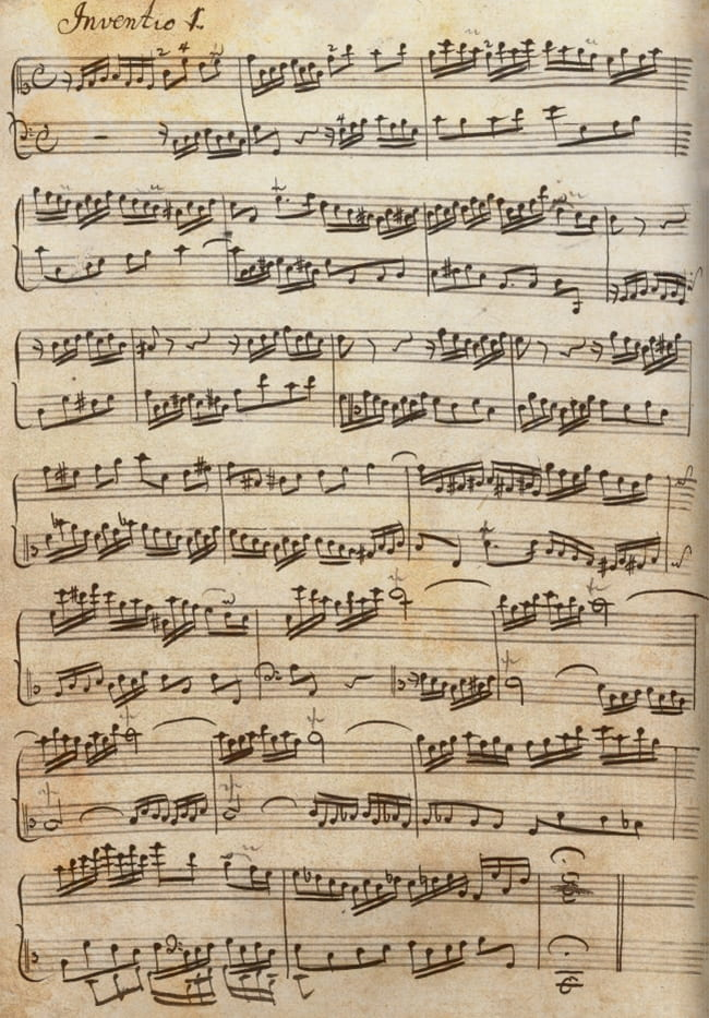 Original manuscript of Bach two part invention music