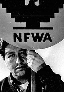 Caesar Chavez with NFWA sign