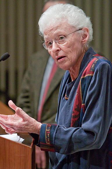 Sallie McFague speaking at an HDS event