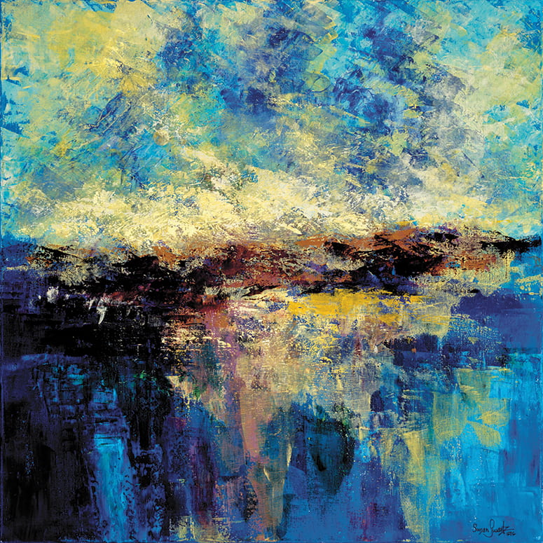abstract painting of land and sky reflecting on the ocean