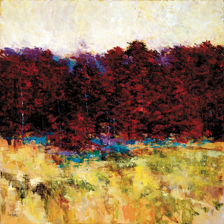 abstract painting of line of trees with red leaves behind a golden field