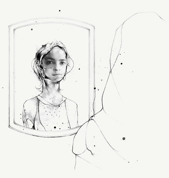 Illustration of teenage girl wearing a hijab looking at herself in a mirror