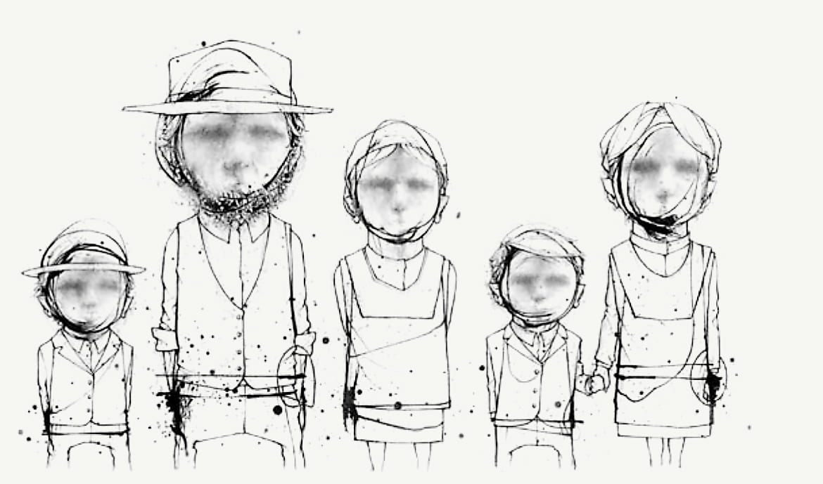 illustration of Amish figures standing in a line