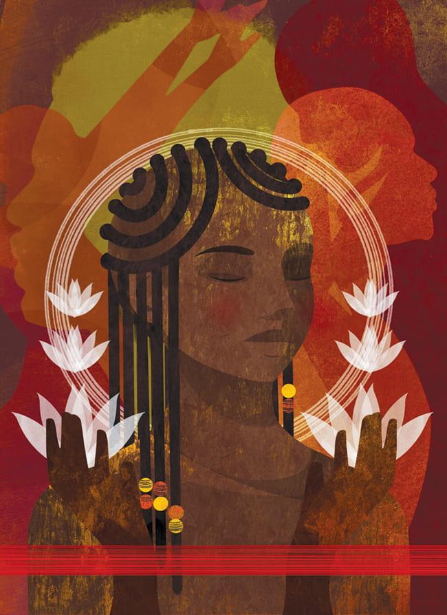 Illustration of a Black woman meditating circled by lotus blossoms