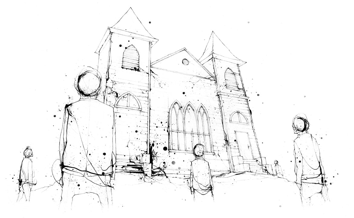 Illustration of figures standing in front of the Carswell Grove church, looking up at it