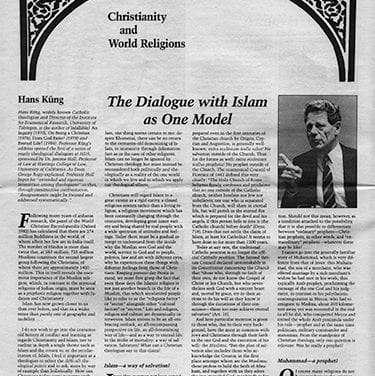 The Dialogue with Islam as One Model