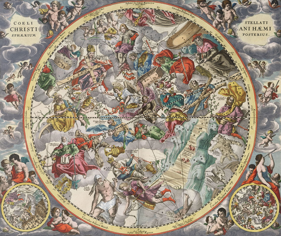Engraving of the heavens with celestial figures