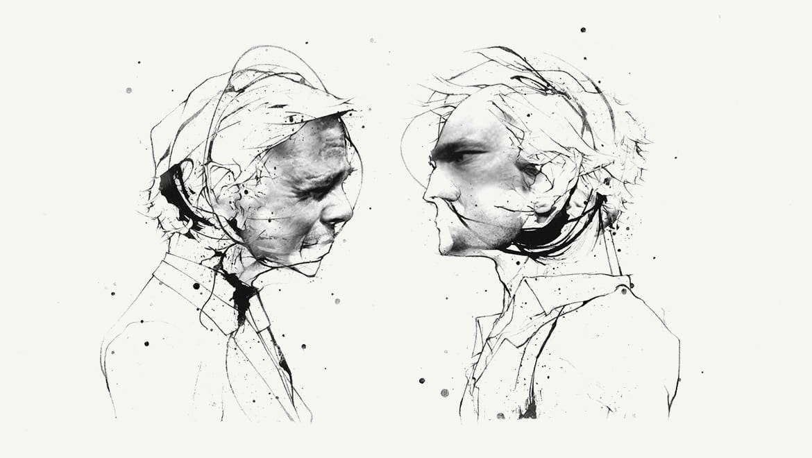 Illustration of two men facing each other