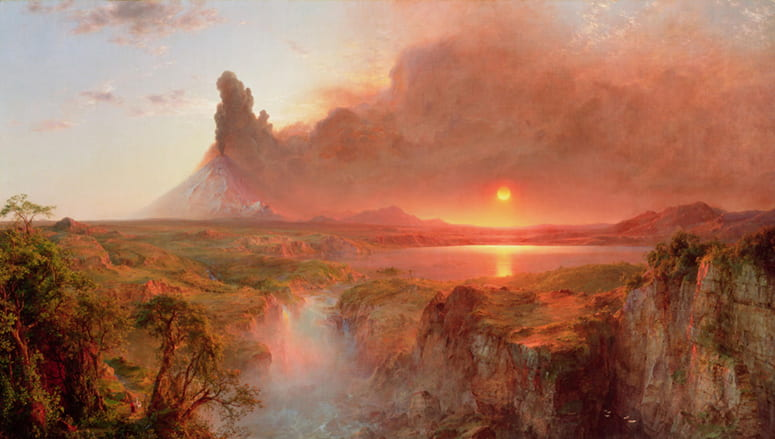 Painting of a red sky over a volcano spewing smoke and ash at sunrise