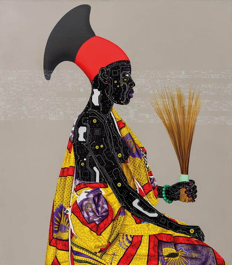Painting of a woman in traditional African dress