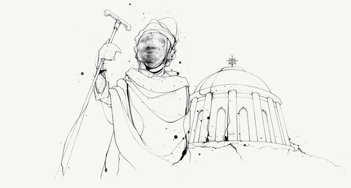 Illustration of man holding a staff in front of a church dome with an Ethiopian cross on it