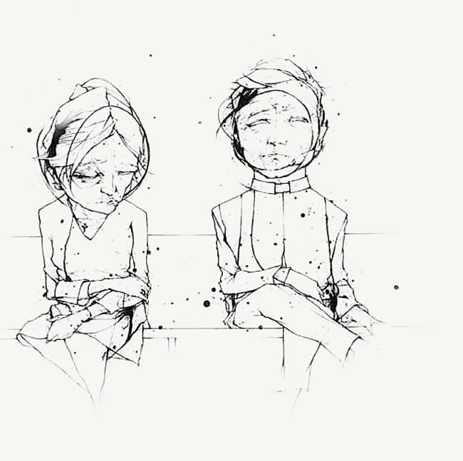 Illustration of two seated figures, one looking down