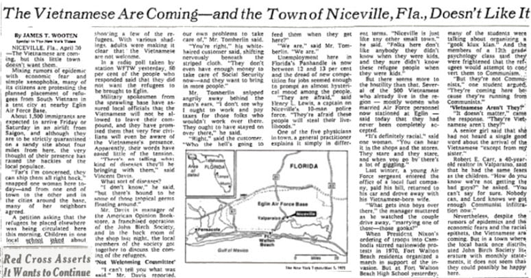 """Image of """"The Vietnamese Are Coming--and the Town of Niceville, Fla. Doesn't Like It"""" article"""