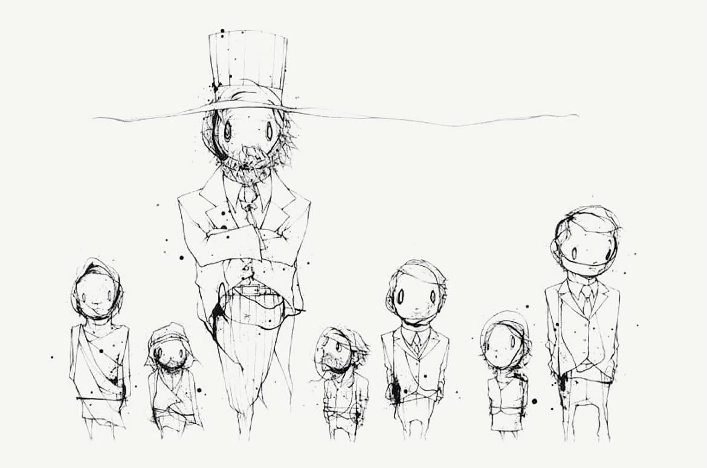 Illustration of a large Uncle Sam standing above smaller figures