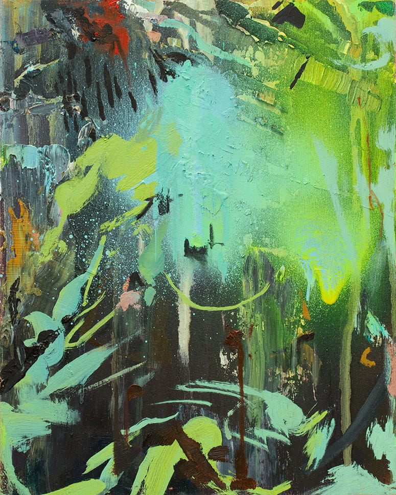 Abstract painting with splatters and drips of bright green, with some red and orange, over a dark background