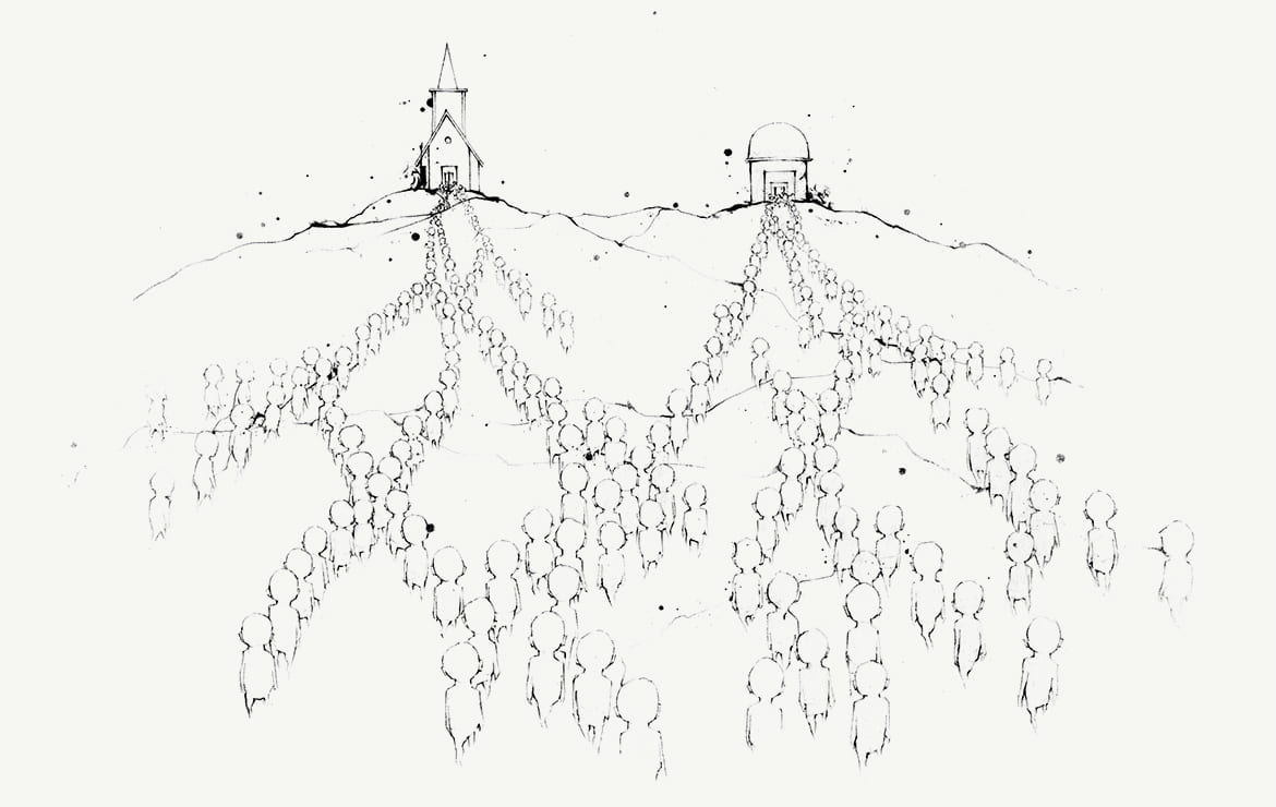 illustration of abstract figures waling in overlapping but diverging paths towards a church and a mosque