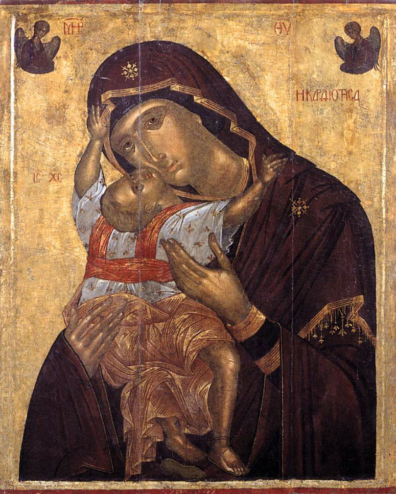 Icon painting of Mary with the baby Jesus