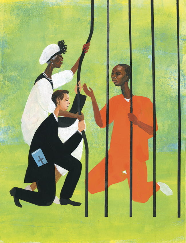 Illustration of a man in an orange jumpsuit behind bars, with a man and woman dressed for church pulling the bars open