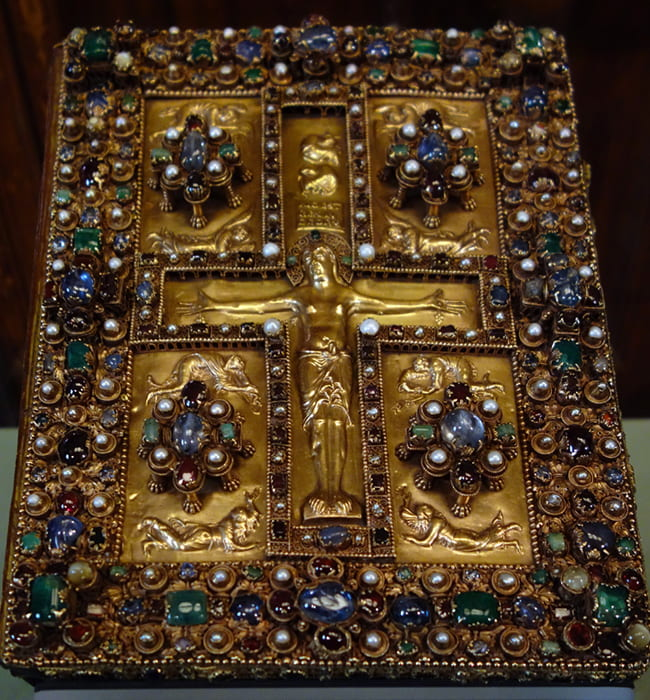 Photo of a heavily jeweled book cover