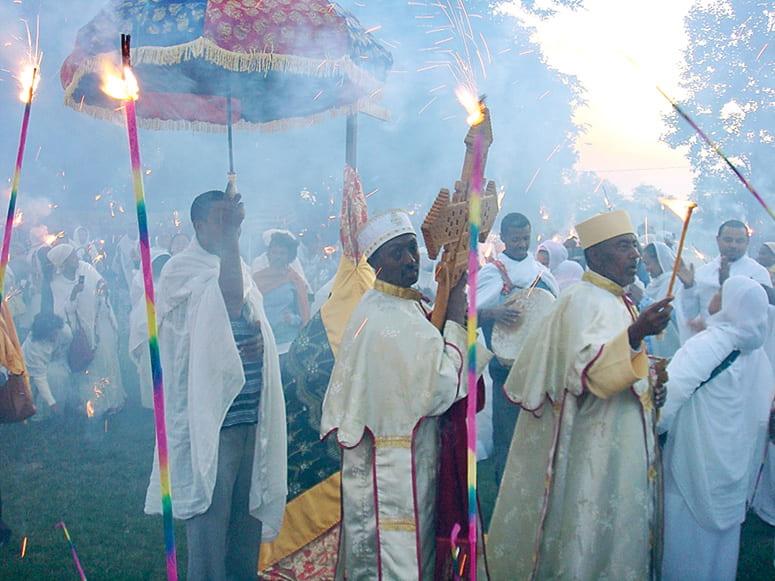 Outdoor ceremonial procession