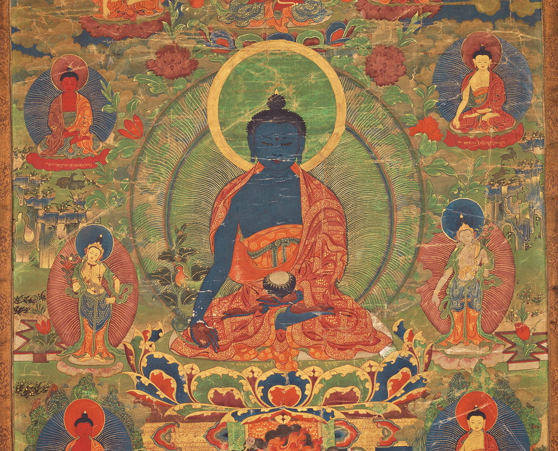 Tibetan thangka painting of the Medicine Buddha