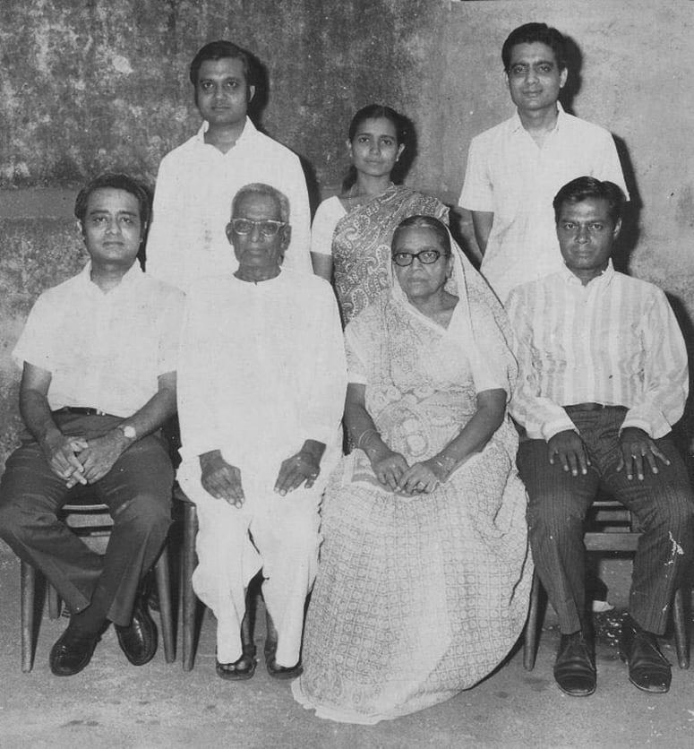 Black and white family portrait photo
