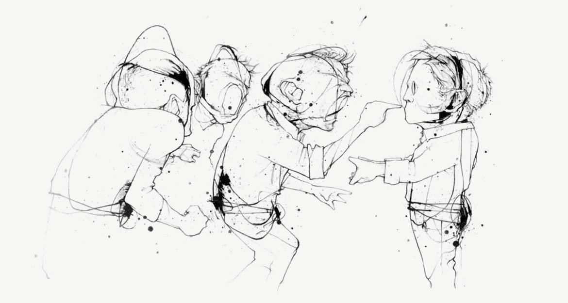 Illustration of figures pointing angry into the face of a figure holding out his hand as if for a handshake