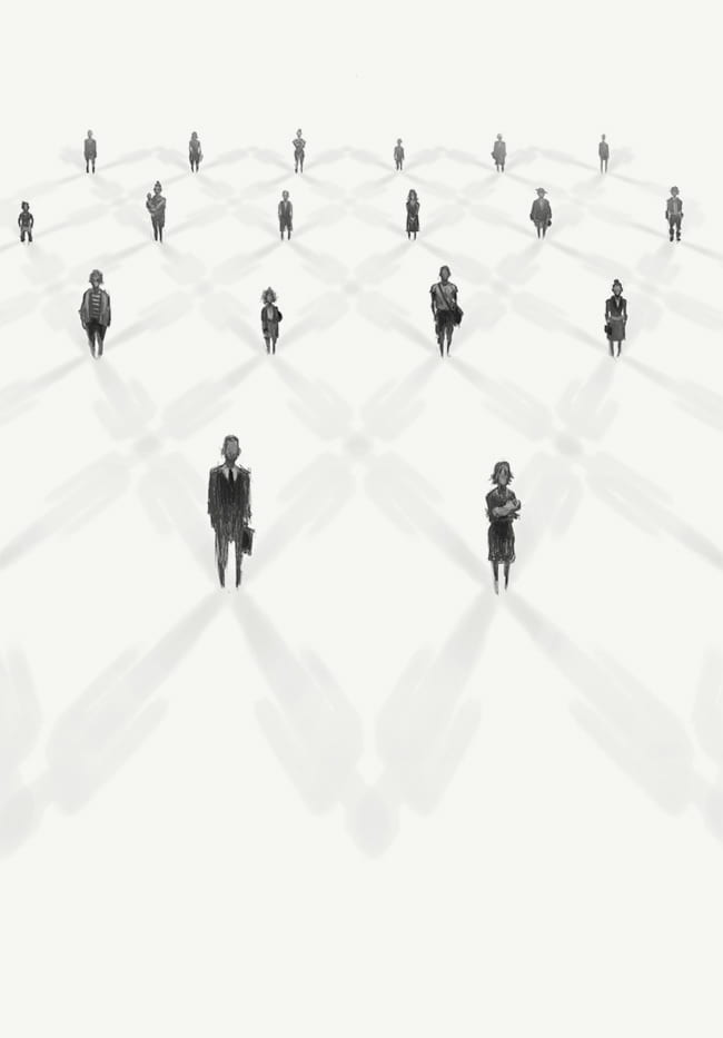 Illustration of standing figures linked by a grid of their shadows