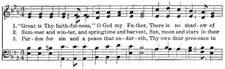 First line of music for the hymn Great Is Thy Faithfulness