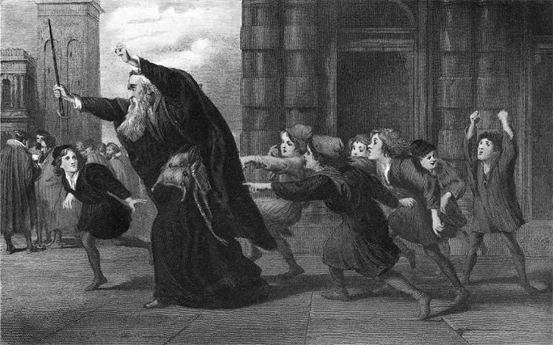 illustration of man running, followed by children pointing at him