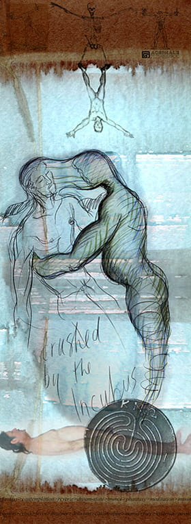 Artist rendering of two male figures embracing, with their faces blurring into each other