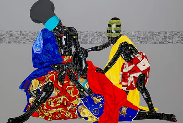 Painting of three figures in African robes and hats