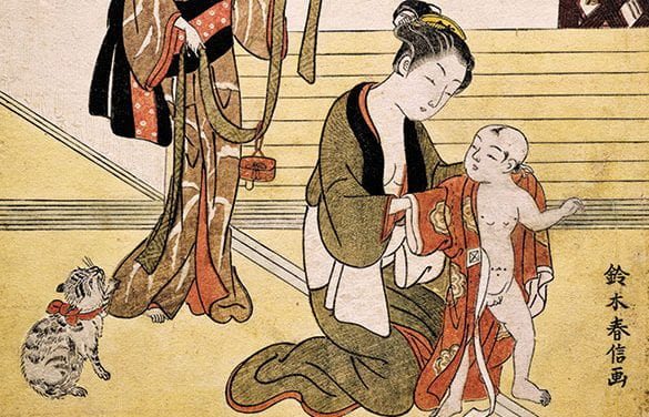 A Mother Dressing Her Son in a Kimono