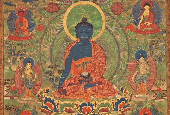 Tibetan thangka painting of a medicine buddha